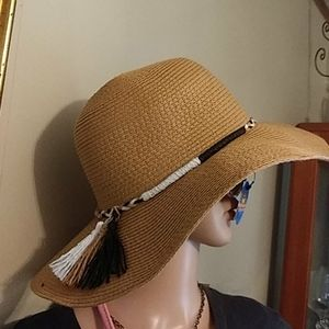 Nwt Braided Tassels Woven Sun hat adjusting